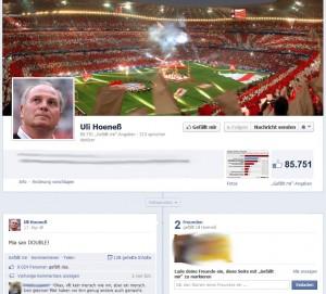 Uli Hoeness bei facebook
