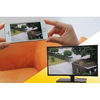 Direkter oder weltweiter Zugriff: Durch die Smartphone- und Computer-Überwachungssoftware kann der Benutzer jederzeit auf die IP-Camera zugreifen.